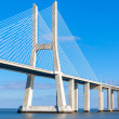 Modern bridge fragment: white against bright blue — Stock Photo