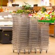 Shiny Metal Shopping Basket Stacks — 图库照片