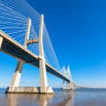 Modern bridge fragment: Vasco da Gama Bridge, Lisbon — Stock Photo