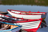 Floating Bright Wooden Boats — Stock Photo
