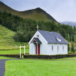Stock Photo: Typical Rural Icelandic Church at Overcast Day