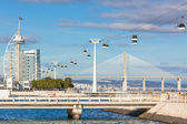 Cable car in Expo district, Lisbon, Portugal — Stock Photo
