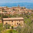 Famous Tuscan wine town of Montalcino, Italy - Stock Photo