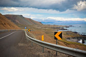 Highway at sea coastline of East Iceland — Stock Photo