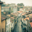 Looking down onto the Rainy Street of Old Town — Stock Photo