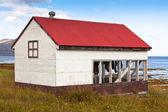 Fish Drying Hut at Iceland Sea Coast — Stock Photo