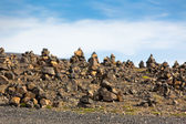 Landscape with Pyramids from stones, Iceland. — Stock Photo