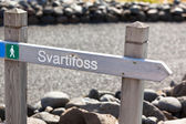 Sign post along the way to Iceland waterfall Svartifoss — Stock Photo