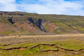Summer Iceland Landscape with Waterfall and Bright Blue Sky — Stock Photo