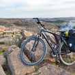 Bike with active equipment at Iceland mountains scene — Stock Photo