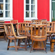 Outdoor summer cafe tables in viking style at Iceland town — Stok fotoğraf