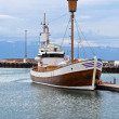 Stock Photo: Typical Iceland Harbor with Wooden Ship at Overcast Day