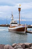 Typical Iceland Harbor with Wooden Ship at Overcast Day — Stock Photo