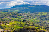 View from Titano mountain at Italian neighborhood — Stock Photo