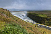 Gullfoss Waterfall, southern part of Iceland, at overcast weathe — Stock Photo