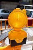 Budowa żółty znak drogowy — Zdjęcie stockowe