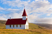 Typical Rural Icelandic Church under a blue summer sky — Stock Photo