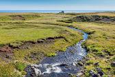 Estate paesaggio islanda con flusso di piccolo fiume — Foto Stock