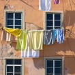 Washing hanging outside an old building of Lisbon, Portugal — Stock Photo