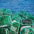 Stock Photo: Lobster and Crab traps stack in a port