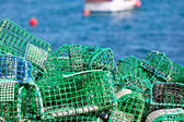 Lobster and Crab traps stack in a port — Stock Photo