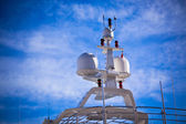Communication antennas on a luxury yacht — Stock Photo