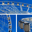 Collage of big ferris wheel on blue sky background — Stock Photo