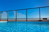Outdoor swimming pool at the House roof — Stock Photo