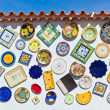 Traditional portuguese pottery plates on wall in Algarve — Stock Photo #33699173