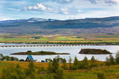 Icelandic Landscape: View of Fellabaer Village (Egilsstadir) — Stock Photo