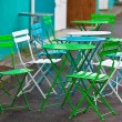 Bright Multicolor Cafe Tables and Chairs — Stock Photo