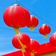 Red Chinese Paper Lanterns against a Blue Sky — Stock Photo
