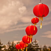 Red Chinese Paper Lanterns — Stock Photo