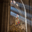 Sunbeams in Sevilla Cathedral, Spain — Foto de Stock
