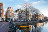 Amsterdam Canal Street view at Winter — Stok fotoğraf