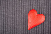 Red Wooden Heart on Knitted Background — Stock Photo
