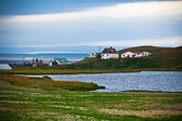 Icelandic Landscape with Small Location at Fjord Coastline — Stock Photo