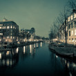 Amsterdam Canal Street view at Night — Stock Photo #40960477