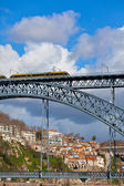 Metro Train on the Bridge of Dom Luiz in Porto — Stock Photo