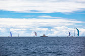 Yacht Regatta at the Adriatic Sea in windy weather — Photo