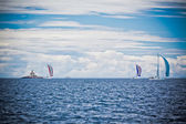 Yacht Regatta at the Adriatic Sea in windy weather. — Stock Photo