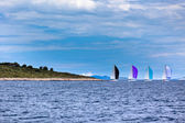 Yacht Regatta at the Adriatic Sea in windy weather — Stock Photo