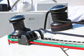 Winches and ropes, yacht detail — Stock Photo