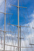 Modern Ship masts without sails — Stock Photo