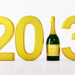 New 2013 year with bottle of champagne - Photo