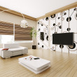 Modern living room interior 3d - Stock Photo