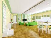 Interior of modern apartment 3d — Stock Photo