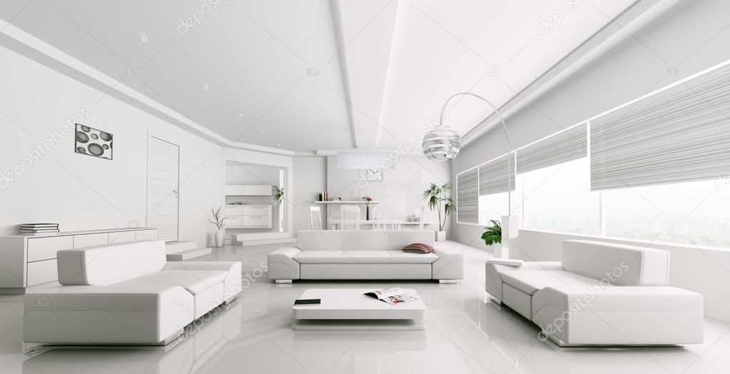 Sala De Estar Moderna Branca ~ de renderização de moderna sala de estar branca — Fotografias de