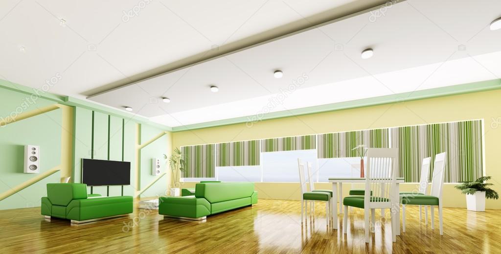 室内的现代公寓全景 3d
