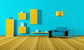 интерьер гостиной 3d визуализации — Стоковое фото